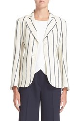 Women's Theory 'Brightdale' Stripe Linen Blazer White Blue