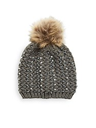 Cara Studded Knit Beanie Grey
