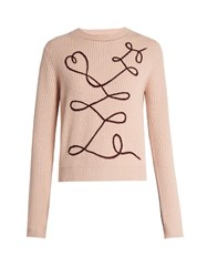 Roksanda Ilincic Vanua Crew Neck Wool And Cashmere Blend Sweater Light Pink