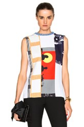 Victoria Beckham Sleeveless Multipatch Tee In White Abstract