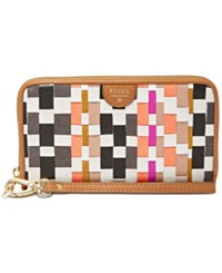 Fossil Sydney Woven Leather Zip Around Phone Wallet Coral Multi