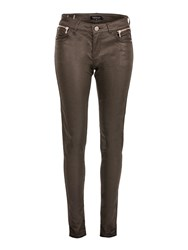Morgan Slim Fit Coated Look Pocket Detail Jeans Brown