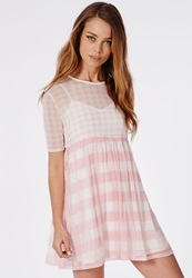 Missguided 2 Piece Mesh Swing Dress Pink Gingham Pink