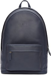 Pb 0110 Navy Leather Front Pouch Backpack