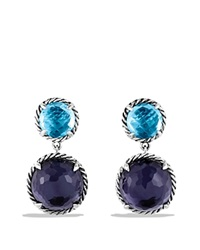 David Yurman Chatelaine Double Drop Earrings With Black Orchid And Blue Topaz Silver Purple
