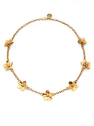 Tory Burch Cecily Flower Chain Necklace Antique Gold