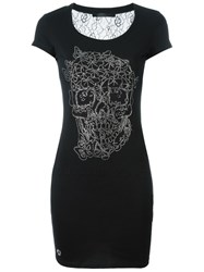 Philipp Plein Butterfly Skull T Shirt Dress Black