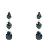 Latelita London Rosegold Triple Drop Earring Sapphire Hydro Blue Rose Gold