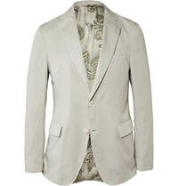 Etro Slim Fit Washed Cotton Poplin Blazer Gray