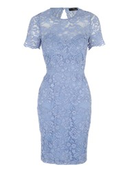Jane Norman Corded Lace Short Sleeve Dress Blue