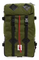 Topo Designs Men's 'Klettersack' Backpack Green Olive Black Leather