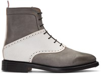 Thom Browne Grey Saddle Boots