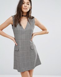 Love Checked A Line Dress With Pocket Detail Pow Grey