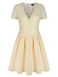 Mela Loves London Lace Top Skater Dress Cream