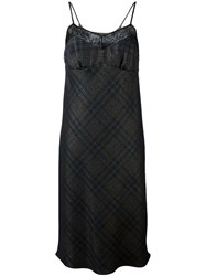 Maison Martin Margiela Lace Panel Tartan Slip Dress Black