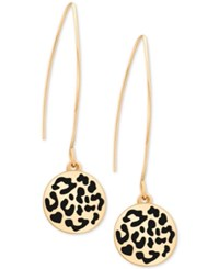 Guess Two Tone Animal Look Disc Wire Threader Drop Earrings Gold