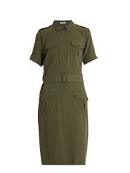 Equipment Petra Short Sleeved Silk Shirtdress Khaki