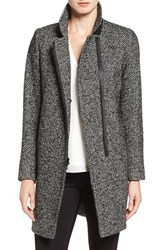 Trina Turk Women's 'Adela' Asymmetrical Zip Notch Collar Coat Black White Tweed