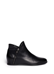 Stuart Weitzman 'Lowkey' Leather Wedge Ankle Boots Black
