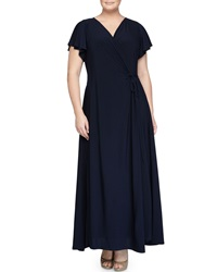 Melissa Masse Short Sleeve Maxi Wrap Dress Navy