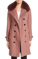 Burberry Women's 'Sandringham' Wool And Cashmere Trench Coat With Genuine Fox Fur Trim