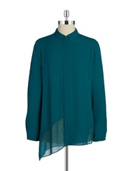 T Tahari Chiffon Button Front Blouse Soft Jade
