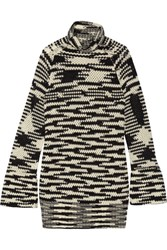 Missoni Wool Blend Crochet Knit Turtleneck Mini Dress Black