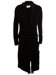 Greg Lauren V Neck Belted Cardigan Black