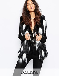 Faux London Fluffy Faux Fur Gilet With Feather Detail Black