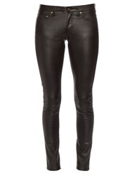 Saint Laurent Low Rise Skinny Faux Leather Trousers Black