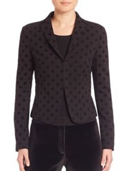 Akris Punto Jersey Flocked Dot Peplum Back Blazer Black