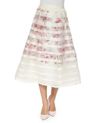 Kay Unger New York Striped And Floral Tea Length Ball Skirt Ivory