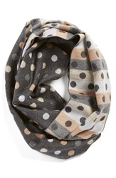 Chelsey Dot Print Silk Infinity Scarf Charcoal Taupe