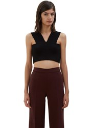 Valentino Cropped Knit Tank Top Black