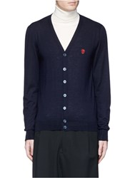 Alexander Mcqueen Skull Embroidery Cashmere Cardigan Blue