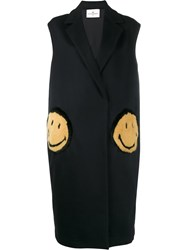 Anya Hindmarch Smiley Patch Sleeveless Coat Blue