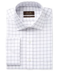 Tasso Elba Men's Classic Fit Non Iron Double Windowpane French Cuff Dress Shirt Only At Macy's Purple