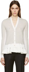 Mcq By Alexander Mcqueen Grey And White Peplum Cardigan