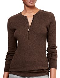Lauren Ralph Lauren Petite Cotton Half Zip Henley Slim Fit Tee Brown