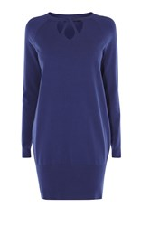 Karen Millen Cut Out Neck Tunic Blue