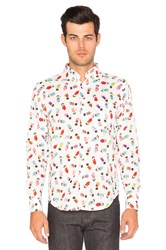 Naked And Famous Regular Shirt Geisha Print White