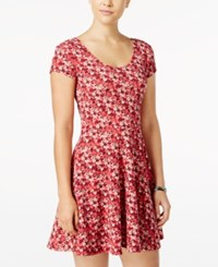 Planet Gold Juniors' Printed Fit And Flare Dress Red Floral