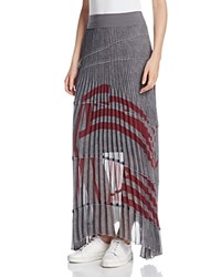 Dkny Pure Graphic Stripe Pleated Maxi Skirt Charcoal Heather