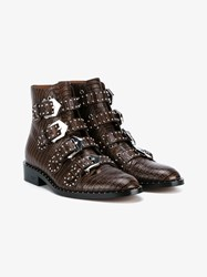Givenchy Stud Embellished Leather Ankle Boots Brown Almond Silver Black Denim