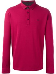 Etro Long Sleeve Polo Shirt Red