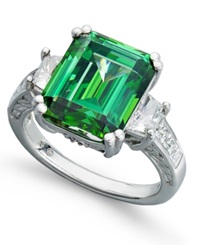 Arabella Sterling Silver Ring Green Swarovski Zirconia Ring 12 9 10 Ct. T.W. Clear