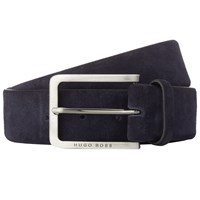 Boss Logo Boss Cansian Suede Leather Belt Navy