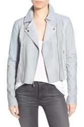 Paige 'Silvie' Genuine Leather And Suede Moto Jacket Blue