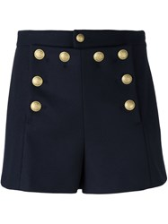 Red Valentino Buttoned Shorts Blue