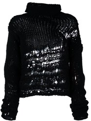 Isabel Benenato Distressed Jumper Black
